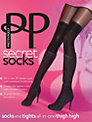 Pretty Polly Over the Knee Modal Sock Tights, Black