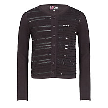 Buy Yumi Girls Sequined Cardigan, Black Online at johnlewis.com