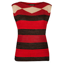 Buy Lauren by Ralph Lauren Linen Mix Boatneck Top, Red Multi Online at johnlewis.com