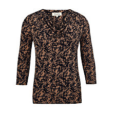 Buy Viyella Daisy Print Jersey Top, Navy Online at johnlewis.com