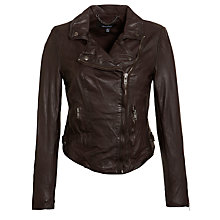 Buy Muubaa Moneria Leather Biker Jacket, Dark Chocolate Online at johnlewis.com