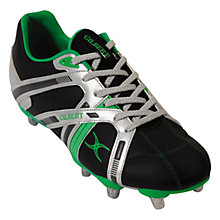 Buy Gilbert Omega Rugby Boots, Black/Silver/Green Online at johnlewis.com