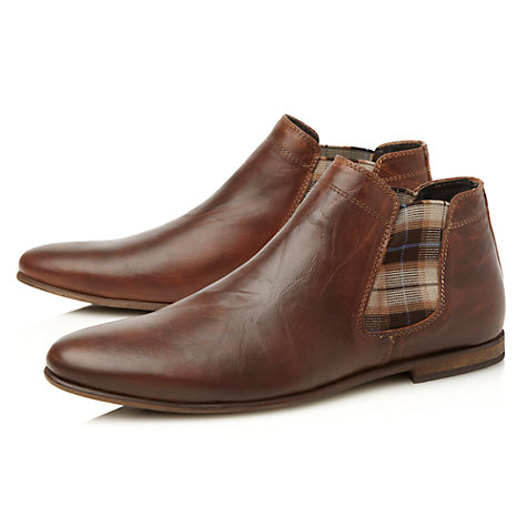 Buy Dune Cricket Check Leather Chelsea Boots, Tan Online at johnlewis.com