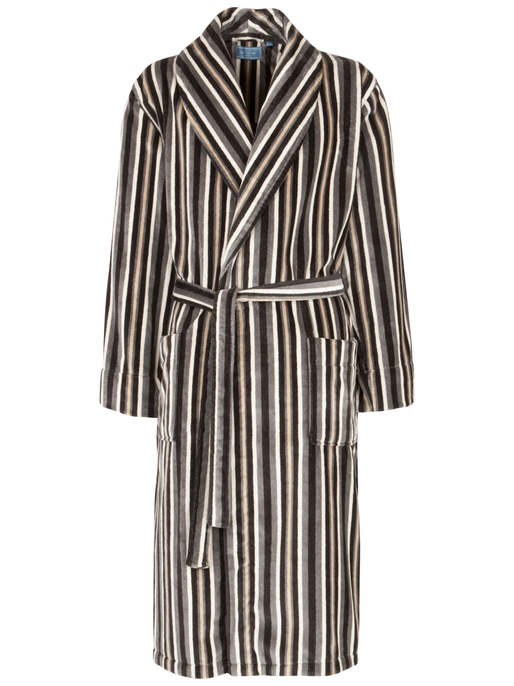 John Lewis Stripe Velour Robe, Multi