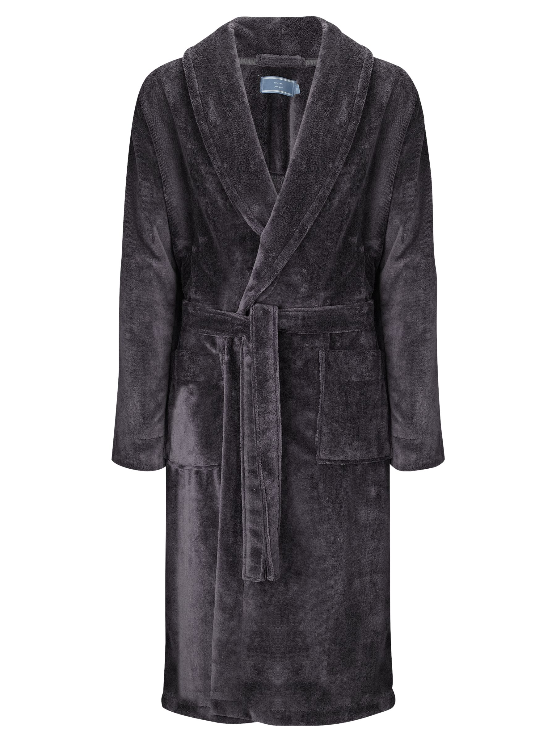 John Lewis Super Soft Towelling Robe, Charcoal