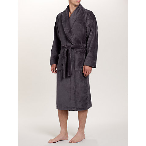 Buy John Lewis Super Soft Towelling Robe, Charcoal Online at johnlewis.com