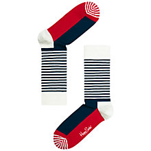 Buy Happy Socks Stripe Half Cotton Mix Socks, Navy/White/Red Online at johnlewis.com