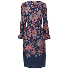 Buy Jaeger Bell Sleeve Print Dress, Navy Online at johnlewis.com