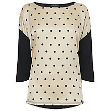 Buy Phase Eight Eliana Spot Woven Top, Wheat/Black Online at johnlewis.com
