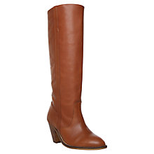 Buy KG by Kurt Geiger Solar Leather Knee High Riding Boots, Tan Online at johnlewis.com