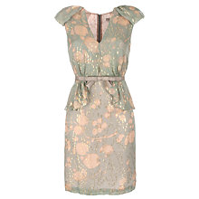 Buy Hoss Intropia Metallic Jacquard V-Neck Dress, Green Online at johnlewis.com