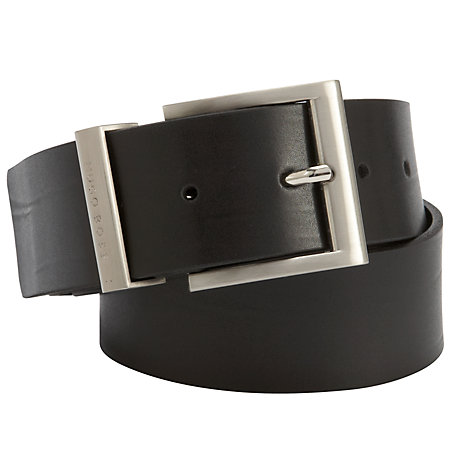 Buy BOSS Bud Leather Belt, Black Online at johnlewis.com