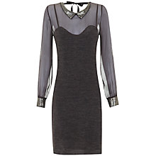 Buy Hoss Intropia Knit Sequin Collar Dress, Mole Online at johnlewis.com