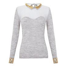 Buy Hoss Intropia Chiffon Sequin Collar Jumper, Mink Online at johnlewis.com