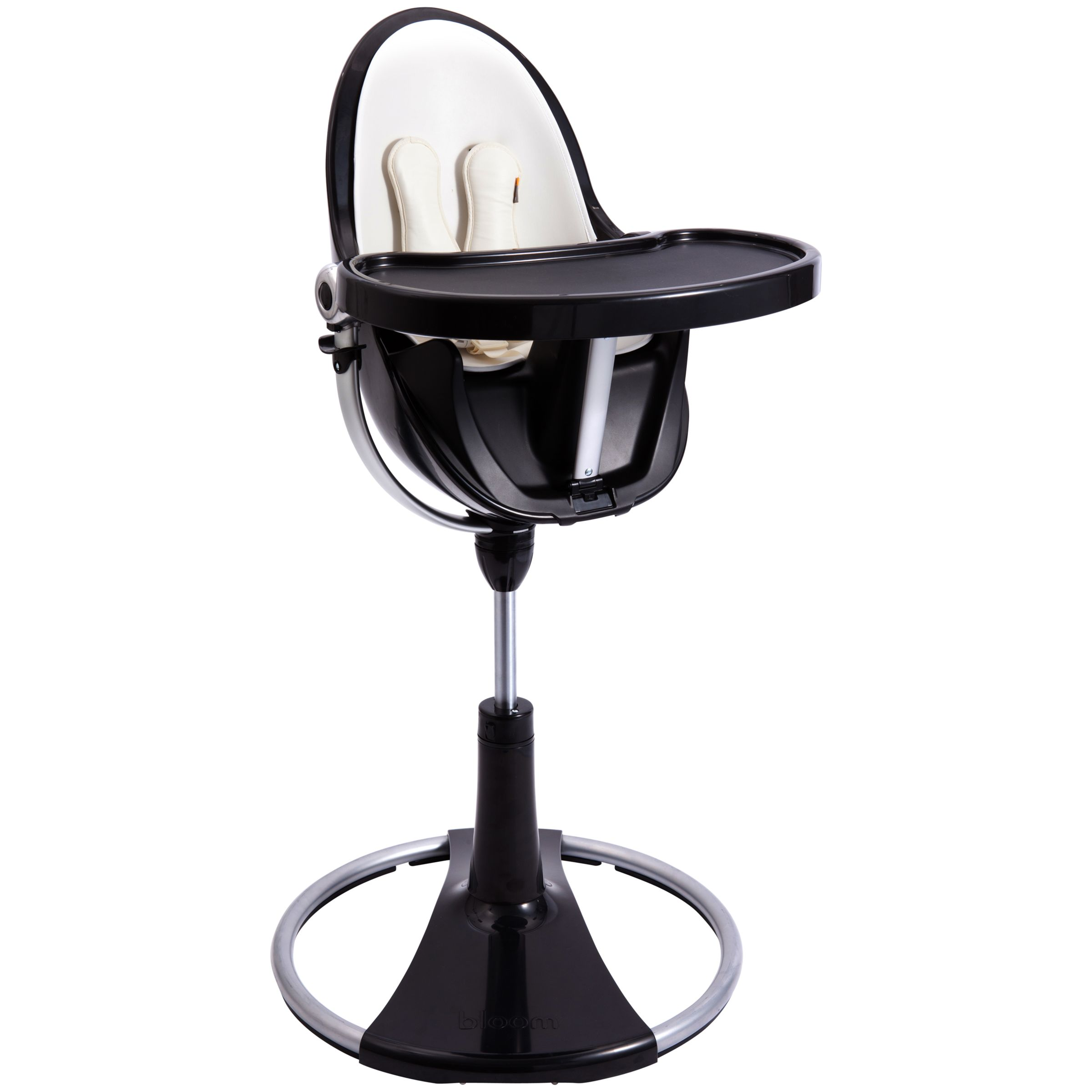 bloom Fresco Chrome Contemporary Leatherette Baby Chair, Black, Coconut White