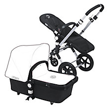 Buy Bugaboo Cameleon3 Aluminum/Black Pushchair Base Unit and Carrycot bundle with Black tailored fabric Online at johnlewis.com