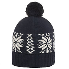 Buy JOHN LEWIS & Co. Fairisle Bobble Hat, Navy Online at johnlewis.com