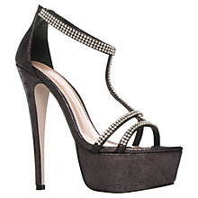 Buy Carvela Gerry Diamante Strap Super High Sandals, Gunmetal Online at johnlewis.com
