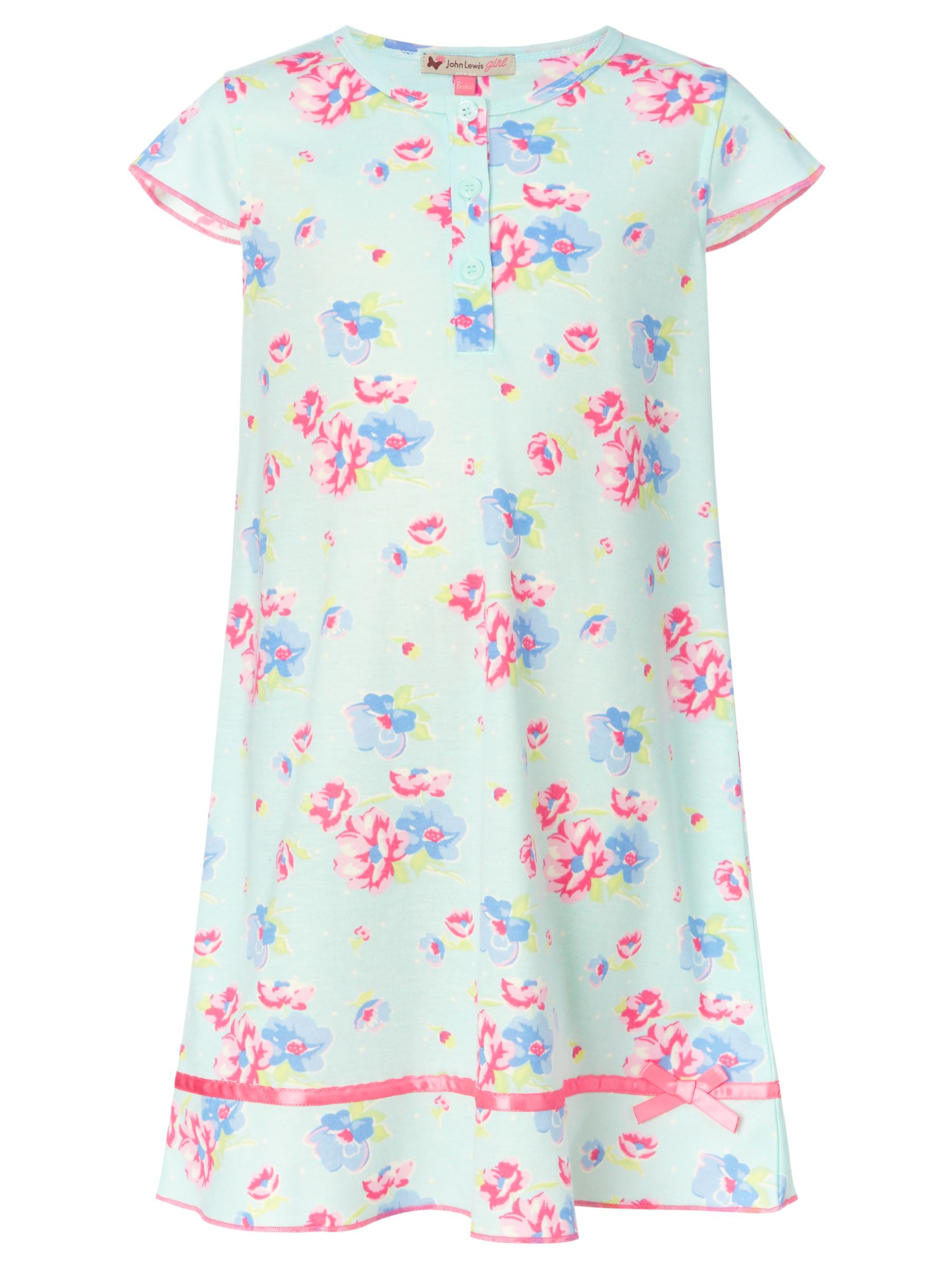 John Lewis Girl Vintage Floral Nightie, Blue/Multi