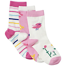 Buy John Lewis Girl Bird and Butterfly Socks, Pack of 3, Pink Online at johnlewis.com