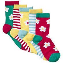 Buy John Lewis Girl Bold Floral and Stripe Socks, Pack of 5, Multi Online at johnlewis.com