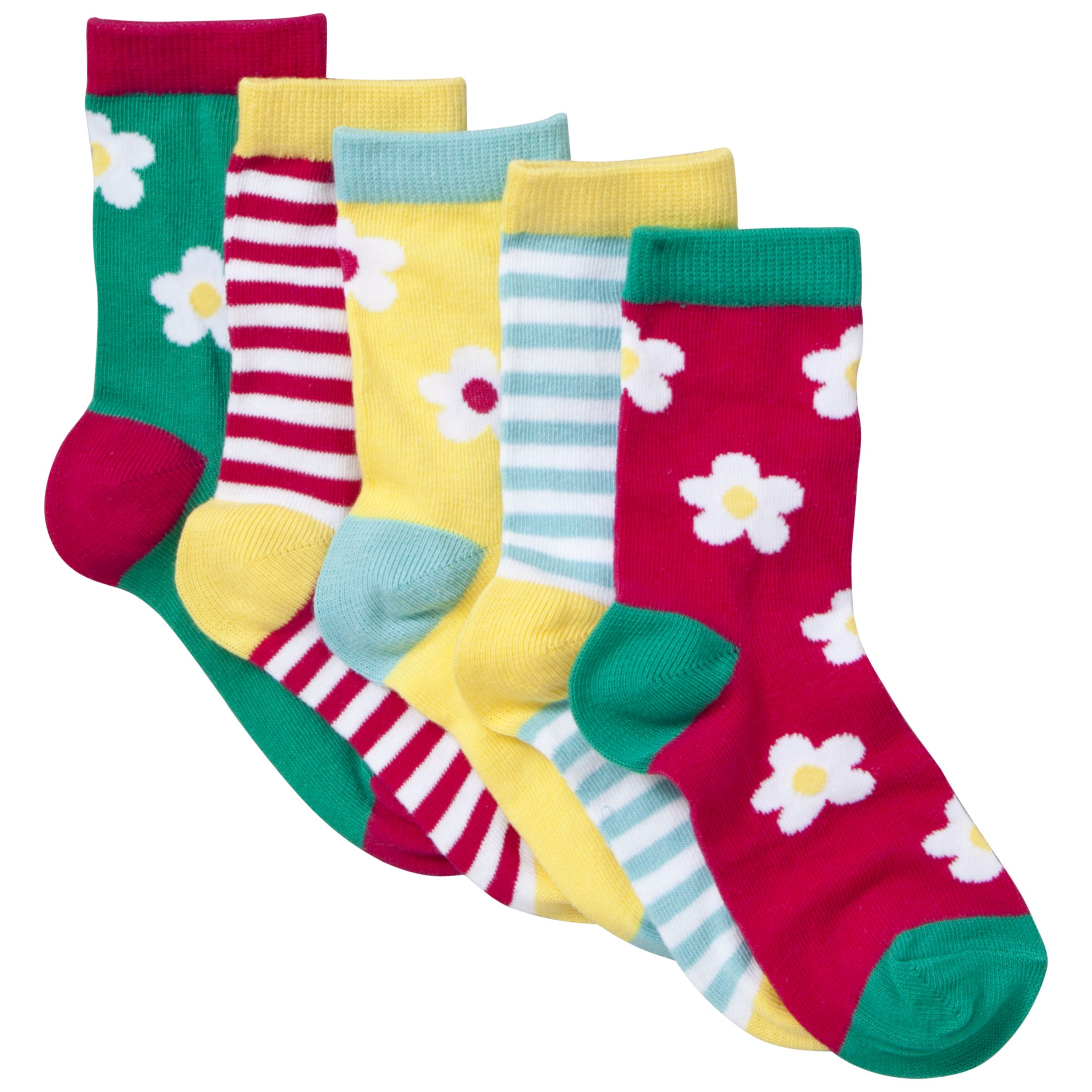 John Lewis Girl Bold Floral and Stripe Socks, Pack of 5, Multi