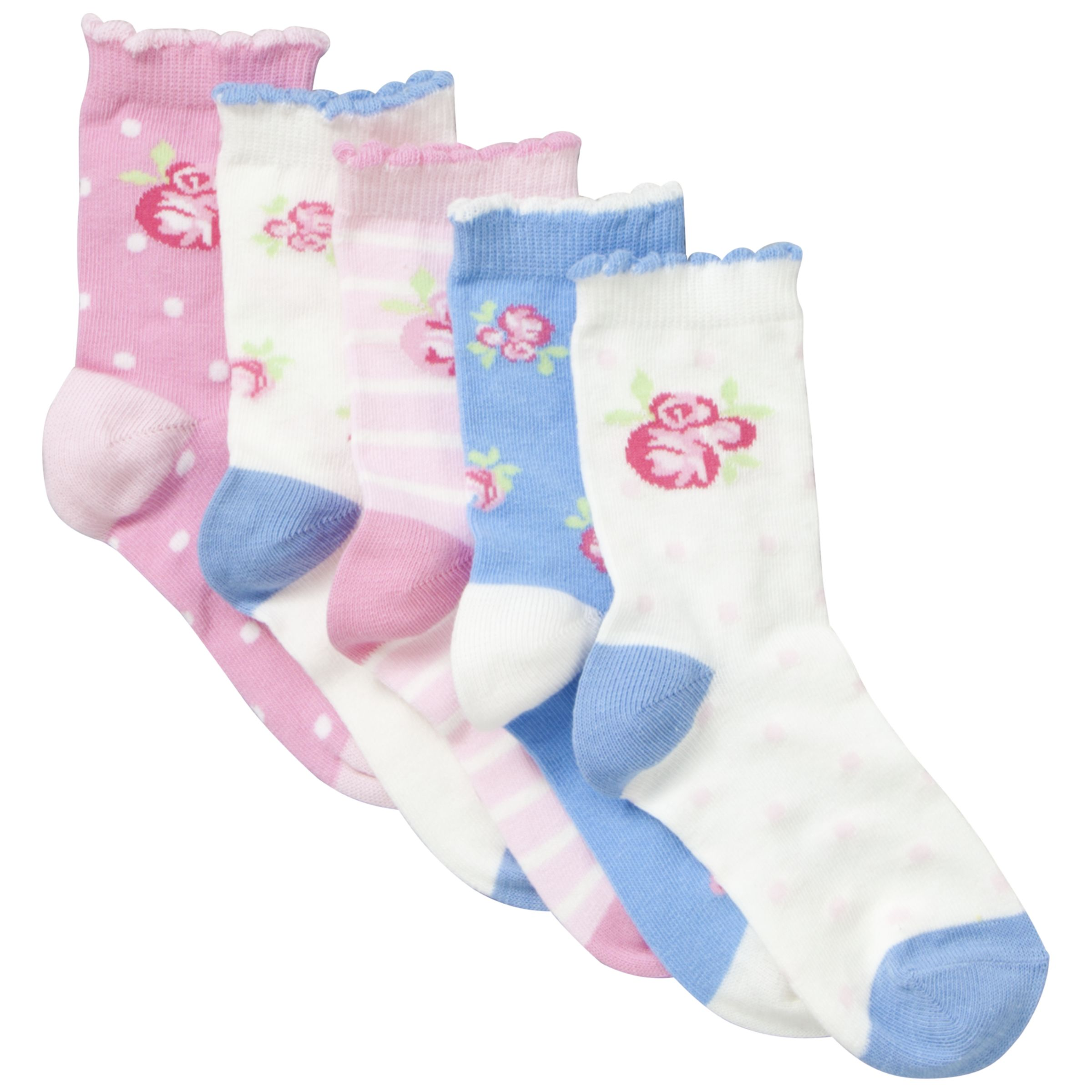 John Lewis Girl Vintage Rose Socks, Pack of 5, Pink/Blue
