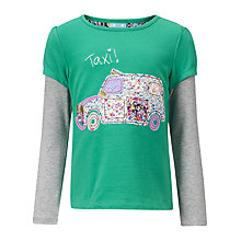 Buy John Lewis Girl Taxi Long Sleeved T-Shirt, Aqua Online at johnlewis.com