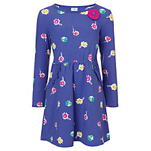 Buy John Lewis Girl Daisy Long Sleeved Dress, Purple Online at johnlewis.com