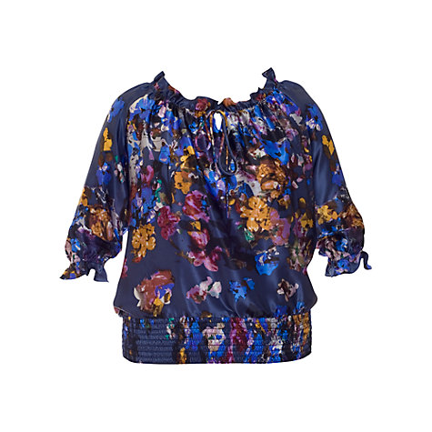 Buy Chesca Silk Print Top, Storm Online at johnlewis.com