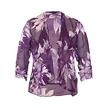 Buy Chesca Floral Flounce Trim Shrug, Purple Online at johnlewis.com