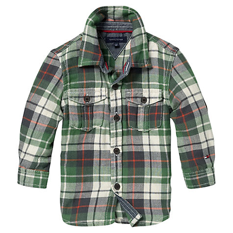 Buy Tommy Hilfiger Boys' Mini Harrisburg Long Sleeved Check Shirt, Green Online at johnlewis.com