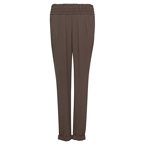 Buy Mango Smocked Trousers, Hunting Green Online at johnlewis.com