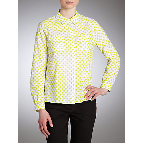 Buy John Lewis Spot Print Dobby Blouse, White/Green Online at johnlewis.com