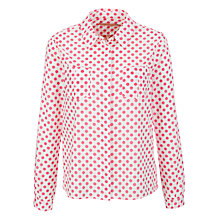 Buy John Lewis Spot Print Dobby Blouse, White/Pink Online at johnlewis.com