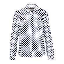 Buy John Lewis Spot Print Dobby Blouse, White/Violet Online at johnlewis.com