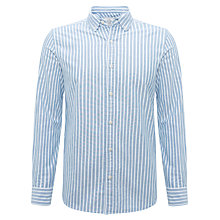Buy John Lewis Newtown Organic Slim Stripe Shirt, Navy Online at johnlewis.com