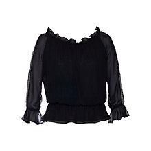Buy Chesca Beaded Trim Gypsy Top, Black Online at johnlewis.com