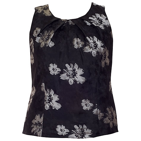 Buy Chesca Floral Printed Camisole, Black/Silver Online at johnlewis.com