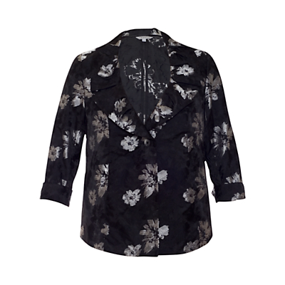 Chesca Floral Printed Jacket, Black/Silver Image
