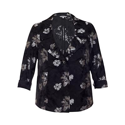 Chesca Floral Printed Jacket, Black/Silver