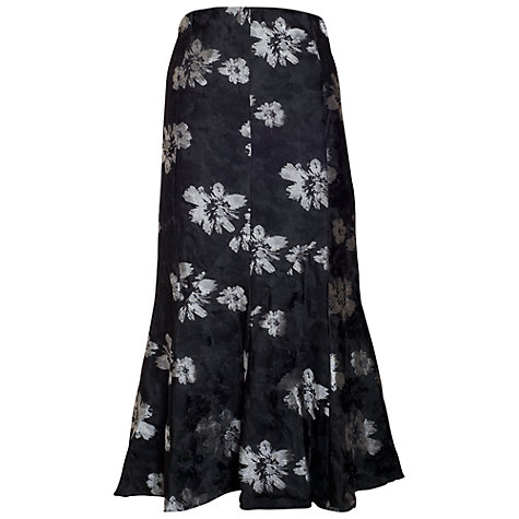 Buy Chesca Floral Printed Skirt, Black/Silver Online at johnlewis.com