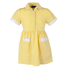 Buy Girls' School Checked Summer Dress, Yellow/White Online at johnlewis.com