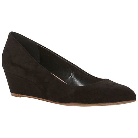 Buy Dune Addy Suede Low Wedge Round Toe Court Shoes, Black Online at johnlewis.com