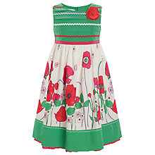 Buy John Lewis Girl Border Print Dress, Green Online at johnlewis.com