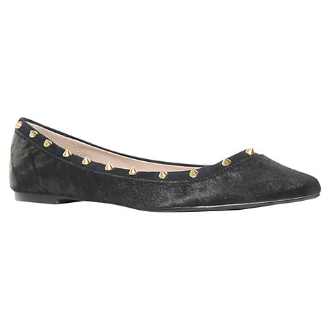 Buy KG by Kurt Geiger Liquorice Hair-On Leather Studded Ballerina Pumps, Black Online at johnlewis.com