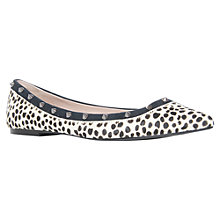 Buy KG by Kurt Geiger Liquorice Hair-On Leather Leopard Spots Ballerina Pumps, Black/White Online at johnlewis.com