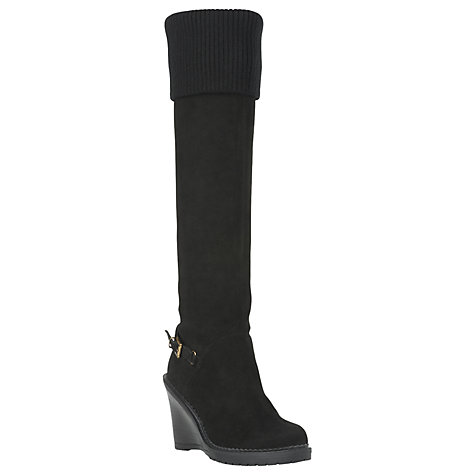 Buy L.K. Bennett Calla Suede Wedge Knee Boots, Black Online at johnlewis.com