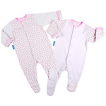 Buy Grobag Fluffy Clouds Gro Suit, Pack of 2, Pink Online at johnlewis.com