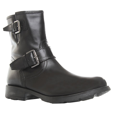 Buy Kurt Geiger Shiloh Leather Double Buckled Biker Boots, Black Online at johnlewis.com